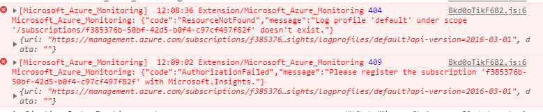 Azure error setting up export from Activity Log to Event Hub