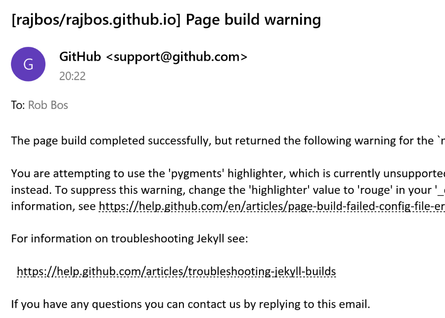 E-mail error from GitHub with Page Build Warning