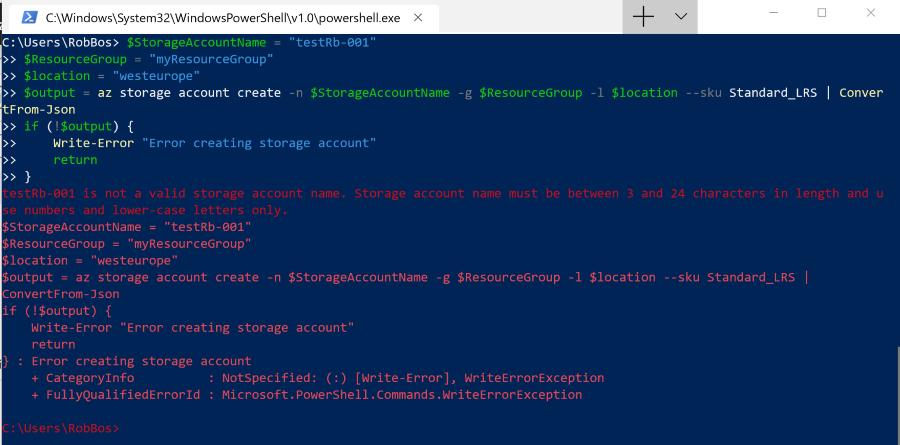 Using Azure CLI with PowerShell: error handling explained