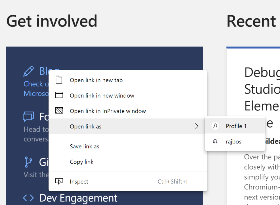 Open link in different personas in Edge Dev