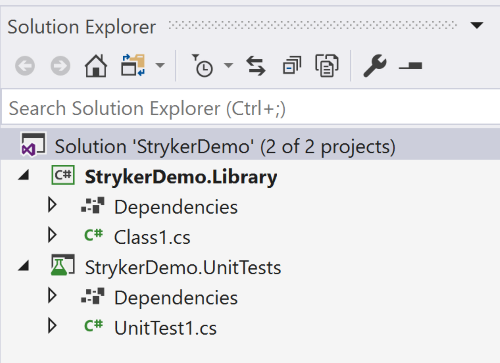 Example of Visual Studio Solution explorer with the two projects