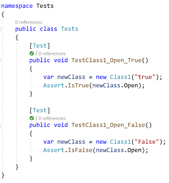 Example of unit tests for both value 'True' and 'False'