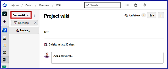 New wiki created with wiki name highlighted