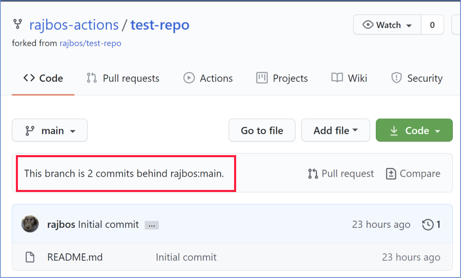 GitHub UI Message that the repository is 2 commits behind the parent repository