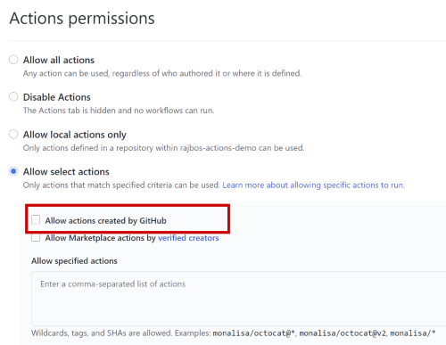 Only allow Actions made by GitHub